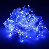 Lainin 3.5M/11ft 96 LED Blue Linkable Fairy Curtain String Light with 8 Modes Memory Functional Controller for Indoor/Outdoor/Patio/Wedding/Christmas Party Holiday Decoration