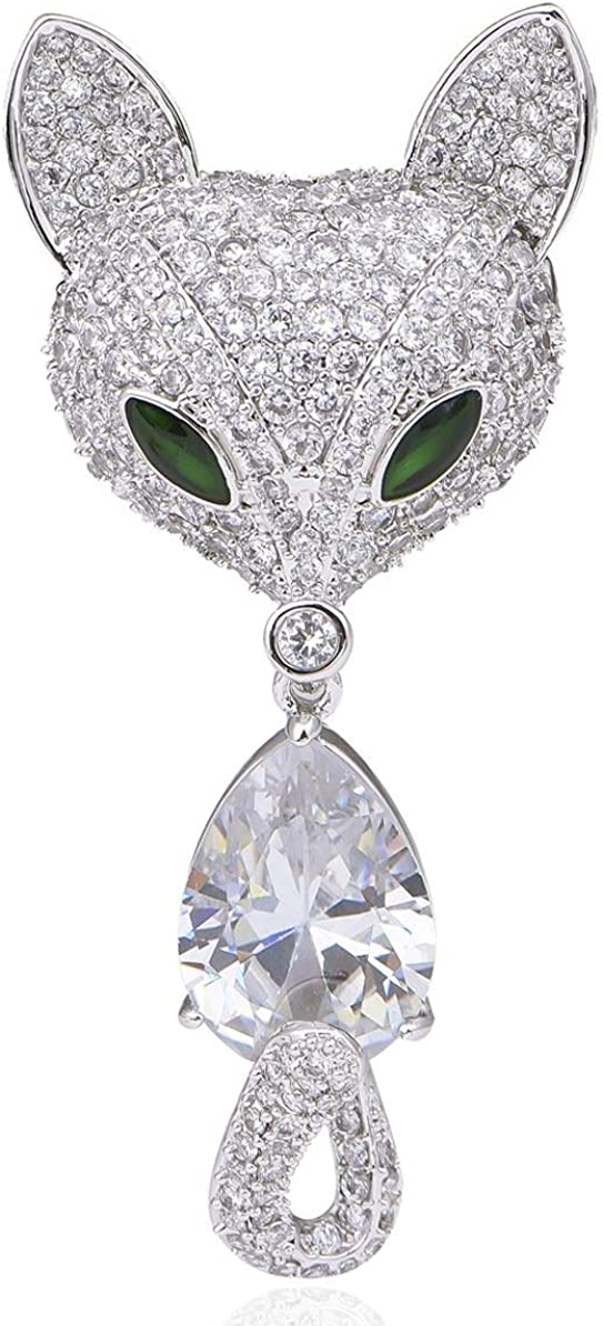 Janefashions Fox Head White CZ Stone Crystal Diamond Simulant Brooch Pin Jewelry Gift Rhodium Plated Brass Animals X143
