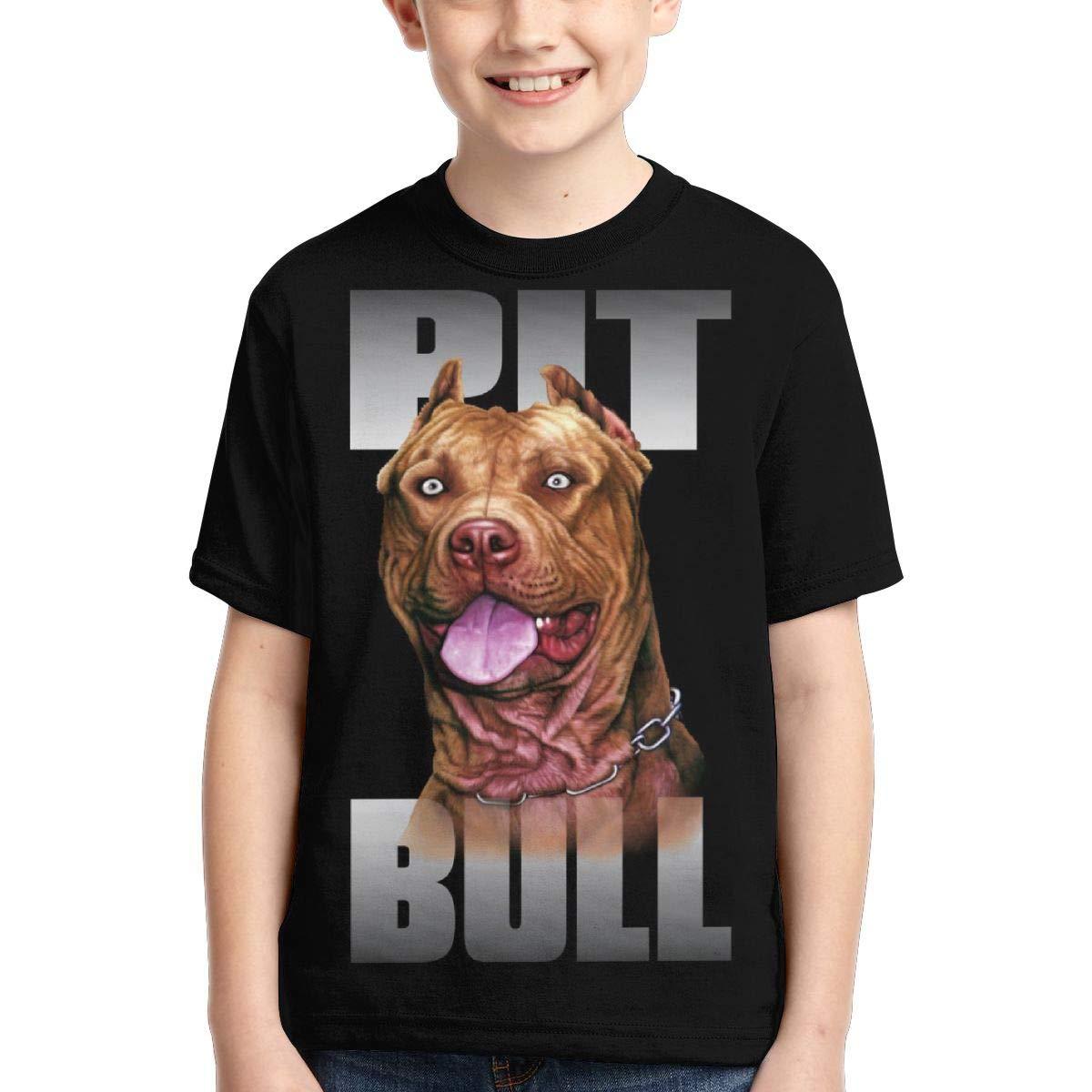 AMODECO Pitbull Dog 3D Printed Tee T-Shirt for Youth Teenager Boys Girls
