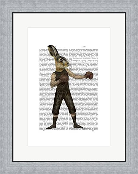Amazon.com: Boxing Hare by Fab Funky Framed Art Print Wall Picture ...
