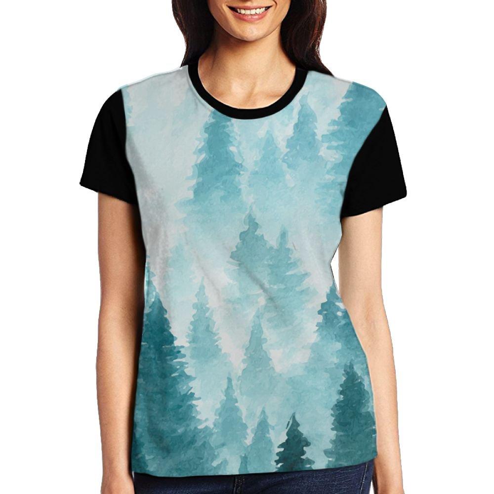 CKS DA WUQ Forest Printing Women's Raglan T-Shirt Short Sleeve Sport Baseball Tees Tops Undershirts