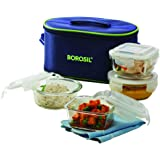 Borosil Glass Lunch Box Set of 4, (2 pcs 320 ml + 2pcs 400 ml) Microwave Safe Office Tiffin