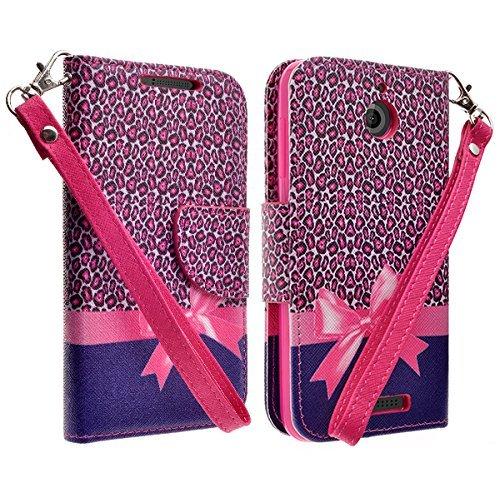 Htc Diamond Design Snap (HTC Desire 510 Wallet Pouch All-in-One Phone Protective Cover - Premium Faux Leather Folio Flip Book Case w/ Kickstand By Zase ® Unique Design (Hot Pink Leopard)