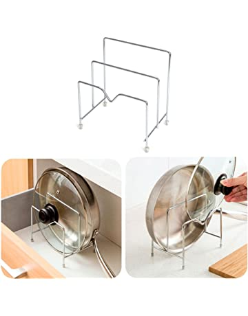 Xuniu 2 Capas de Acero Inoxidable Utensilios de Cocina Portapotas Porta Tapa de Rack Organizador Tabla
