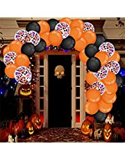 Halloween Balloon Garland Arch Kit, 93pcs DIY Party BalloonsDecorations Kits, Black Orange Confetti Latex Balloon Arch Kit with Balloons Chain & Glue Dots for Birthday Party Baby Shower Wedding Decor