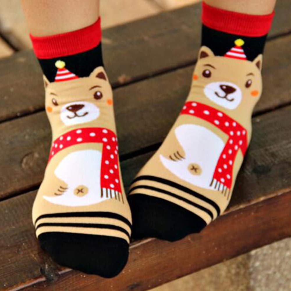 Amazon.com: Pausseo Unisex Women and Men Christmas Comfortable Cotton Socks Short Ankle Sock Antislip Warm Fleece Gripper Slippers Stockings Keep Warm ...