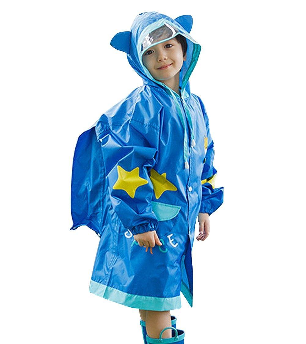 Tortor 1Bacha Kid Boys Girls Hooded Giraffe Raincoat Long Rain Jacket Slicker