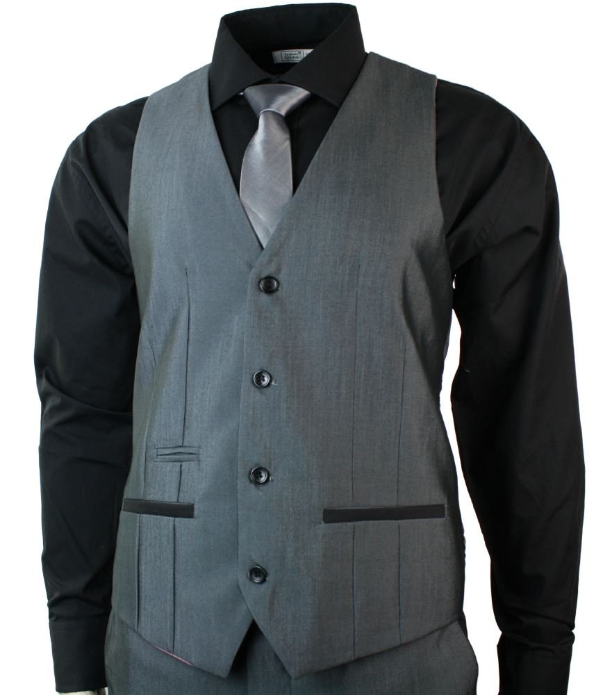 Mens Round Shawl Lapel Tuxedo Dinner Suit 3 Piece Wedding Prom Party Grey Black