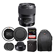 Sigma 35mm f/1.4 DG HSM Art Lens for Nikon Bundle with USB Dock and 64GB Extreme PRO SD Card (4 Items)