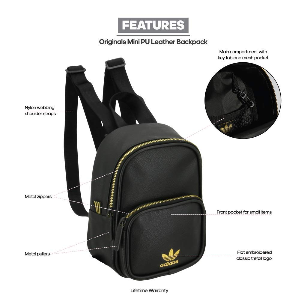 9da7d05817f1 Adidas Mini PU Leather Backpack (Black Gold)  Amazon.in  Bags ...