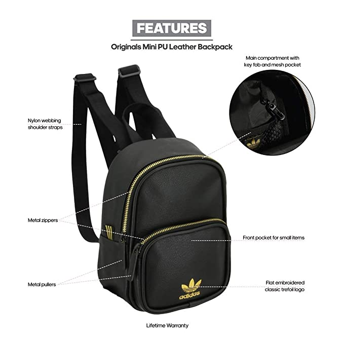 ed4a52eb0 Amazon.com: adidas Originals Mini PU Leather Backpack, Black/Gold, One  Size: Sports & Outdoors