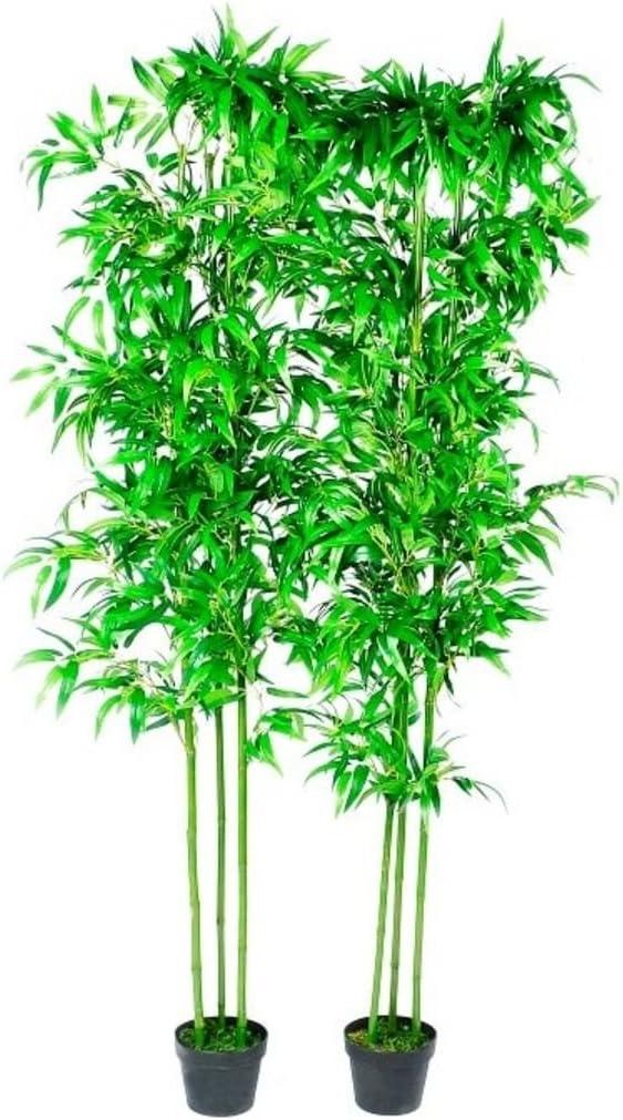 vidaXL 2X Plantas Artificiales Bambú con Cañas Reales 190 cm ...