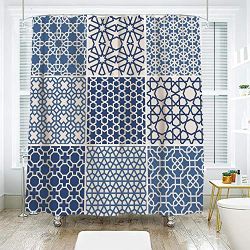 - scocici Bath Curtain Suit Bathroom Waterproof Curtain Bath Curtain,Arabian,Arabesque Islamic Motifs with Geometric Lines Asian Ethnic Muslim Ottoman Element,Blue White,108.2