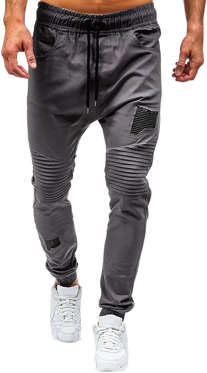 Dtuta Pantalons Homme Slim Surv/êTement Ceinture /éLastique Sport Joggers Cargo Grande Taille Patchwork Casual Pants