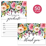 Graduation Party Invites ( 50 ) & Folded Matched Thank You Cards ( 50 ) Set with Envelopes Female Graduate Celebration High School College Lovely Fill-in Invitations & Thank You Notes Great Value Pair
