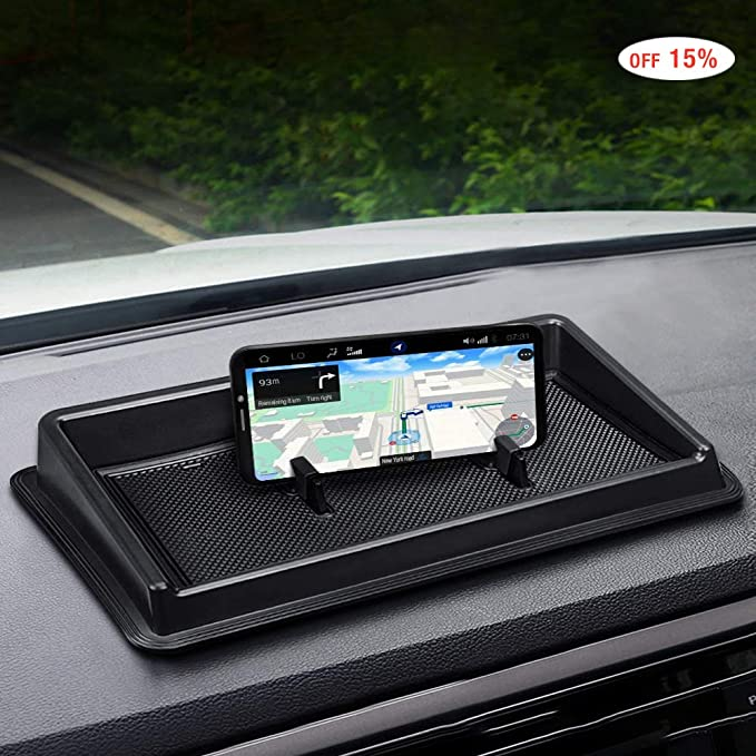 CarQiWireless Dash Center Console Table Storage Tray for Toyota Tundra 2014-2019,Dashboard Instrument Organizer Multi-Function Phone Holder Cradle ABS Black Materials Anti-Slip Backing