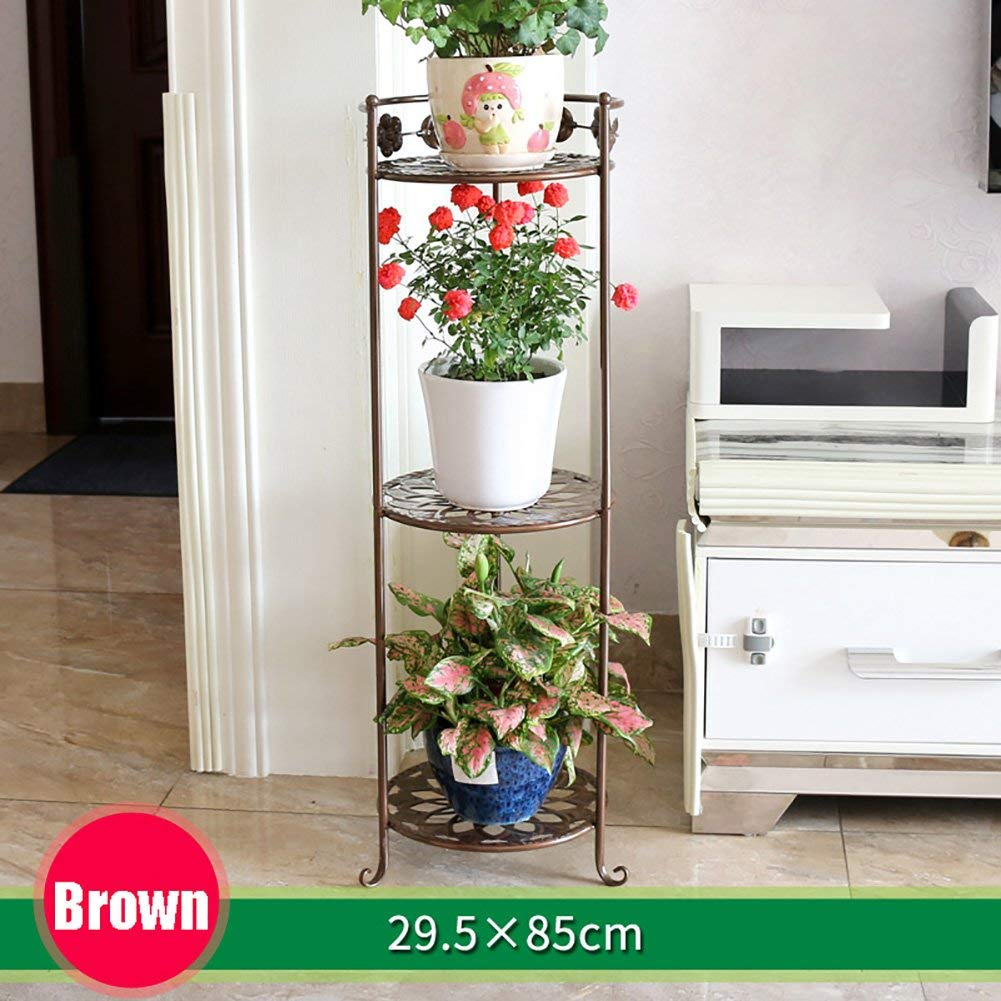 Brown 29.5×85cm Gifts & Decor Plant Stand Shelf Outdoor Indoor Display Plant Stand Wrought Iron Flower Shelf Multi-Layer Floor Balcony Indoor Living Room Space to Spend (color   Black, Size   26×58cm)