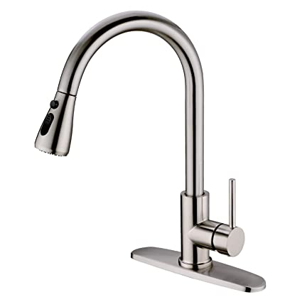 Hpbge Single Handle Pull Out Kitchen Faucet Single Level Stainless