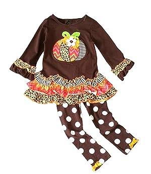 Baby Little Girls Pumpkin Polka Dot Brown Pant Set Outfits Halloween