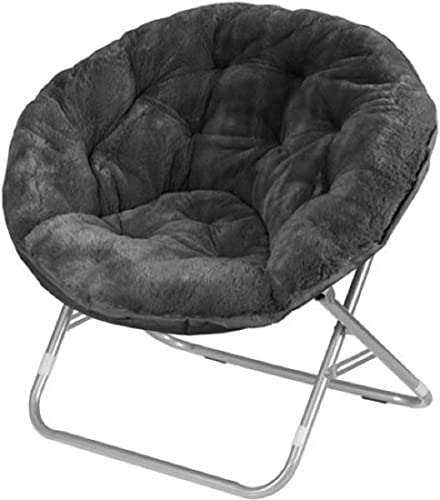 Very Comfortable Mainstays Faux-Fur Saucer Chair Black