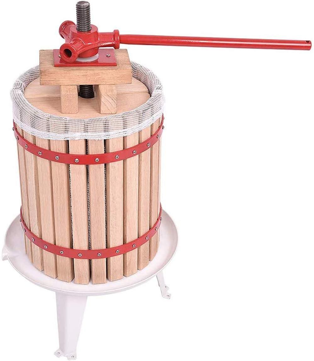WMZQW 6L lagar Pressoir Roble de la Fruta, exprimidor de cítricos con un paño, Prensa Mecánica Manual (6 litros)