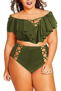 e7594078a02 Kisscynest Women's Plus Size Off The Shoulder Ruffles High Waist Bikini Sets