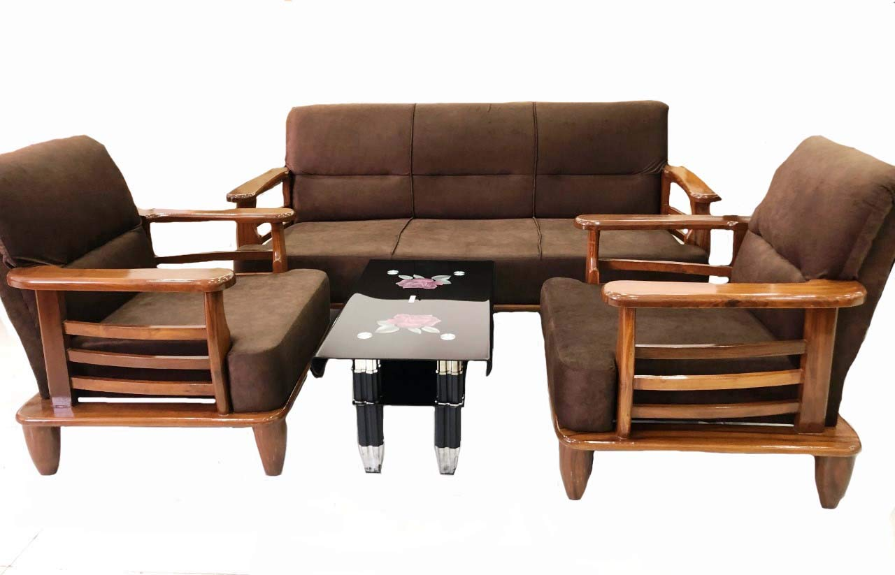 Sif Shiva Interiors And Furnitures Present Pure Malaysian Teakwood Wood 5 Seater Sofa Set 3 1 1 For Living Room Brown Amazon In Home Kitchen