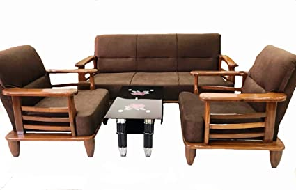 SIF Shiva Interiors And Furnitures Present Pure Malaysian Teakwood Wood 5 Seater Sofa Set 3+1+1 For Living Room, Brown: Amazon.in: Home & Kitchen