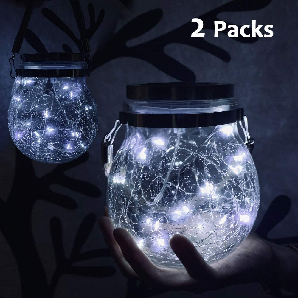 Nurluce 6 Pack Solar Mason Jar Lights with Candle Flame Top Handles Included 25 Led String Fairy Firefly Lights Lids Insert for Regular Mouth Jars Mason Jar,Patio,Lawn,Garden Decor White