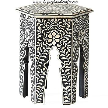 Hexagonal Bone Inlay Side Table (Black)