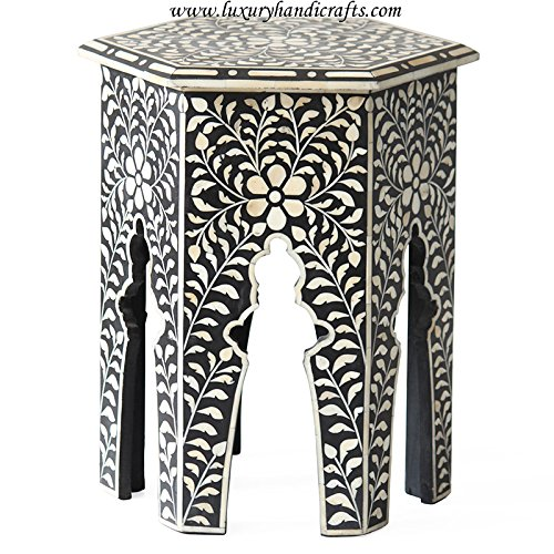 Luxury Handicrafts Hexagonal Bone Inlay Side Table (Black) (Table Side Bone Inlay)