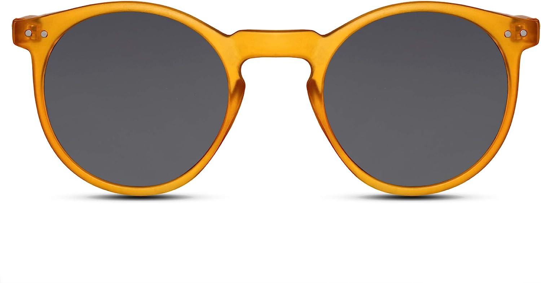 Cheapass Occhiali da Sole Rotondi Opachi con una Montature Gialla con Lenti Scure UV400 Protetti Vintage da Uomo e Donna
