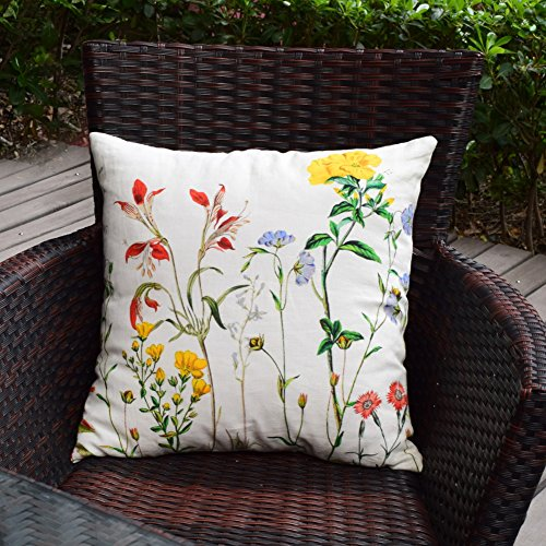Spring Floral Pillow - Kingmell Throw Pillow Covers Decorative Spring Home Decor 18 x 18 Pillowcases Floral Linen Soft Cushion Cover for Couch Bed