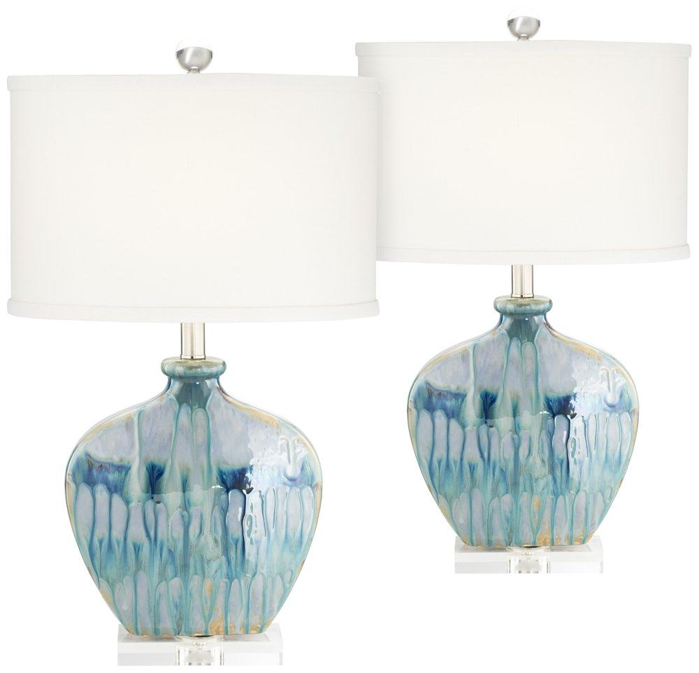 Mia Blue Drip Ceramic Table Lamp Set of 2