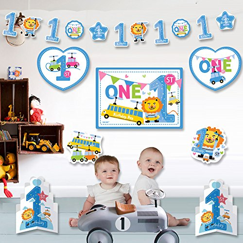 1st Birthday Boy Decorations Kit - Blue 1st lion and Number One Star Banner - Large Animal Lion , Toy card stock cutouts - Multi Colored , Blue , 18-Piece (Birthday Star Card)