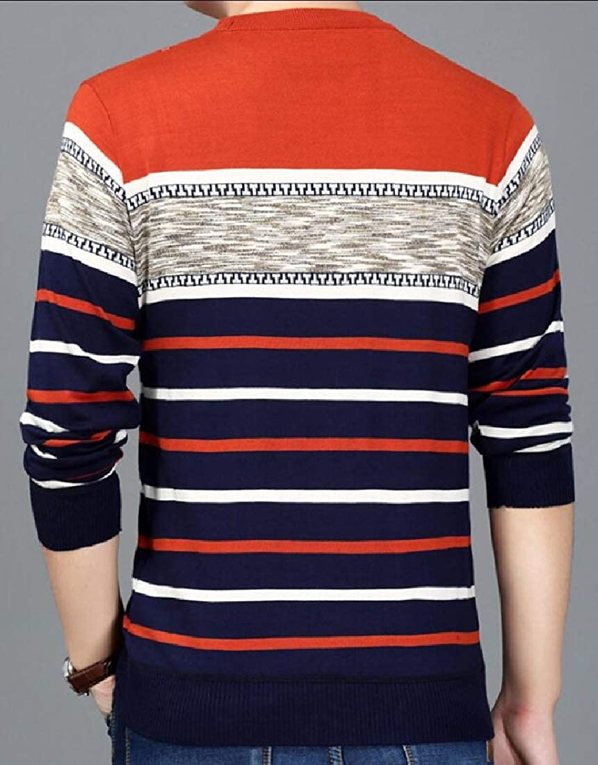 Gocgt Mens Crew Neck Contrast Stripes Knitted Long Sleeves Sweaters Pullover Top