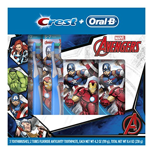 Oral-B and Crest Kids Pack Featuring Marvel's Avengers, Kids Two Fluoride Anticavity Toothpastes and Three Toothbrushes (Crest Battery Toothbrush)