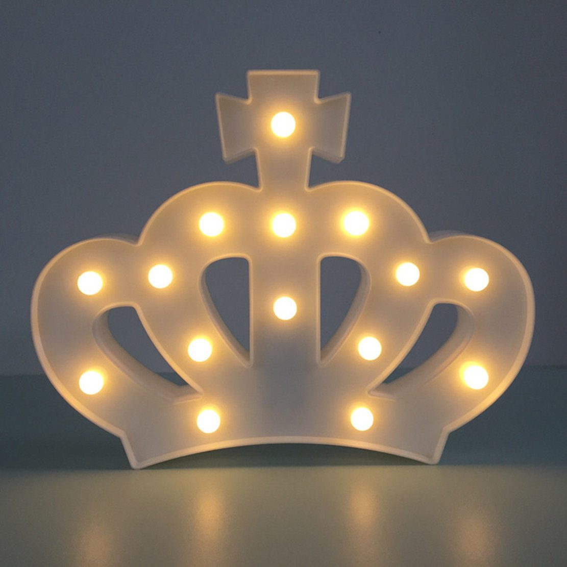 QiaoFei 3D Crown Marquee Sign Light,LED Queen Princess Kings Shaped Sign-Lighted,Wall Decor for Chistmas,Birthday party,Kids Room, Living Room, Wedding Party Decor(White) by QiaoFei (Image #4)