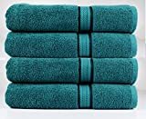 Cotton Craft Ultra Soft 4 Pack Oversized Extra Large Bath Towels 30x54 Teal weighs 22 Ounces - 100% Pure Ringspun Cotton - Luxurious Rayon trim - Ideal for everyday use - Easy care machine wash
