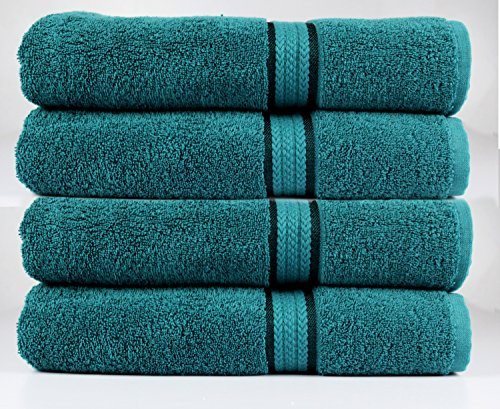 Cotton Craft Ultra Soft 4 Pack Oversized Extra Large Bath Towels 30×54 Teal weighs 22 Ounces – 100% Pure Ringspun Cotton – Luxurious Rayon trim – Ideal for everyday use – Easy care machine wash
