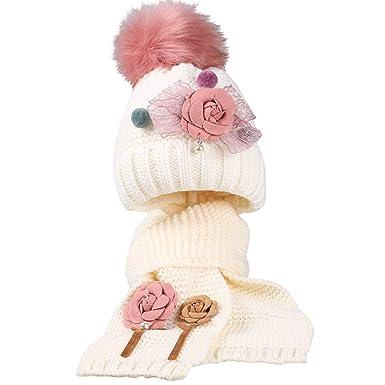 2f8c81e30913 Boomly Bébé Filles Bonnet tricoté + Foulard Chapeau d hiver bébé Foulards  Bonnet Fleur Crochet