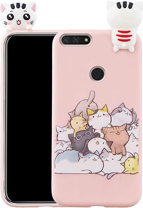 Cover in silicone 3D per Huawei Y6 2018 / Honor 7A gatto: Amazon ...