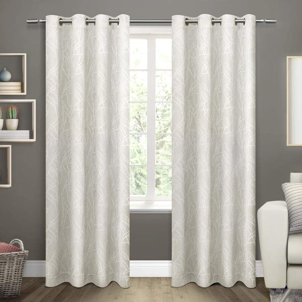Exclusive Home Curtains Twig Insulated Blackout Window Curtain Panel Pair with Grommet Top, 54x84, Vanilla, 2 Piece