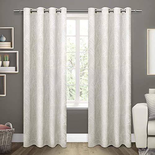 Exclusive Home Curtains Twig Insulated Blackout Window Curtain Panel Pair with Grommet Top, 54×96, Vanilla, 2 Piece