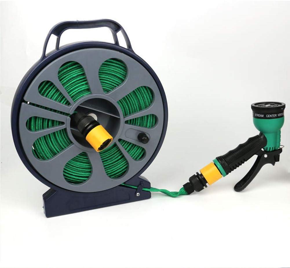 50ft Flat Garden Hose Pipe,Reel with Spray Nozzle Gun Outdoor Watering 15m