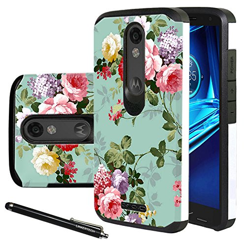 Droid Turbo 2 Case, Linkertech Heavy Duty Defender Dual Layer Protector Hybrid Phone Case Cover for Motorola Droid Turbo 2 / Moto X Force (2015) (Peony)