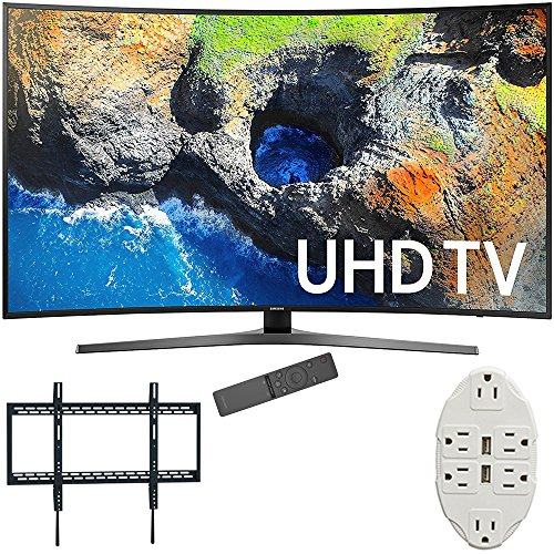 Samsung 65 Curved 4K Ultra HD Smart LED TV 2017 Model (UN65MU7500FXZA) with Xtreme Ultra Slim Flat Wall Mount for 60-100 Inch TVs & Stanley Transformer Tap USB w/ 6-Outlet Wall Adapter & 2 Ports