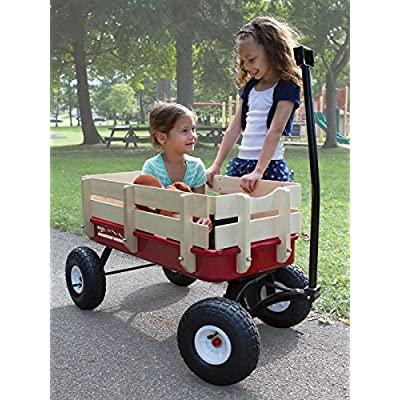 Duncan Toys Mountain Wagon - Pull-Along Wagon for Kids with Wooden Panels, All Terrain Tires, Wide Grip Handle, Wide Wheel Base: Toys & Games