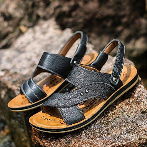 EU38 uomo pelle sandali da casual antiscivolo uomo Ciabatte 5 spiaggia UK5 nere estivi CN38 da Scarpe in ShangYi da traspiranti Xatqw