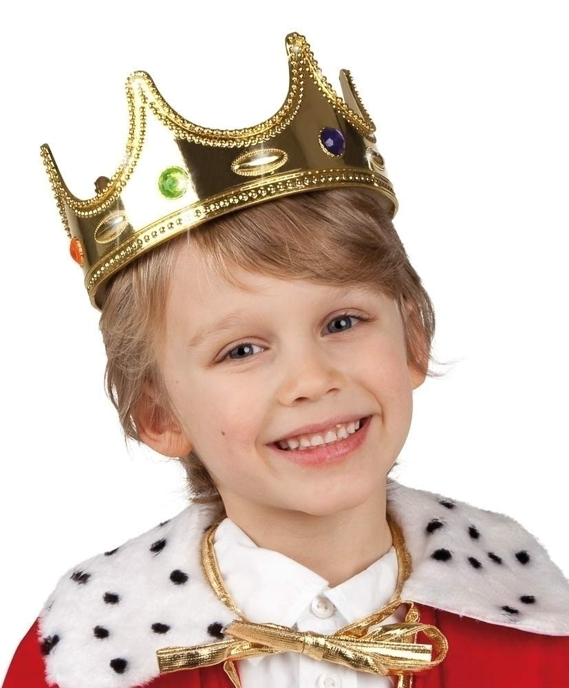 Golden King Crown Kids Fancy Dress Christmas Nativity Boys Costume Accessory